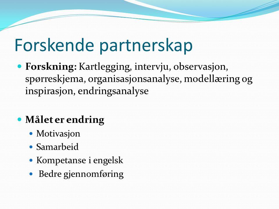 Forskende partnerskap Forskning: Kartlegging, intervju, observasjon, spørreskjema, organisasjonsanalyse, modellæring og inspirasjon, endringsanalyse Målet er endring Motivasjon Samarbeid Kompetanse i engelsk Bedre gjennomføring