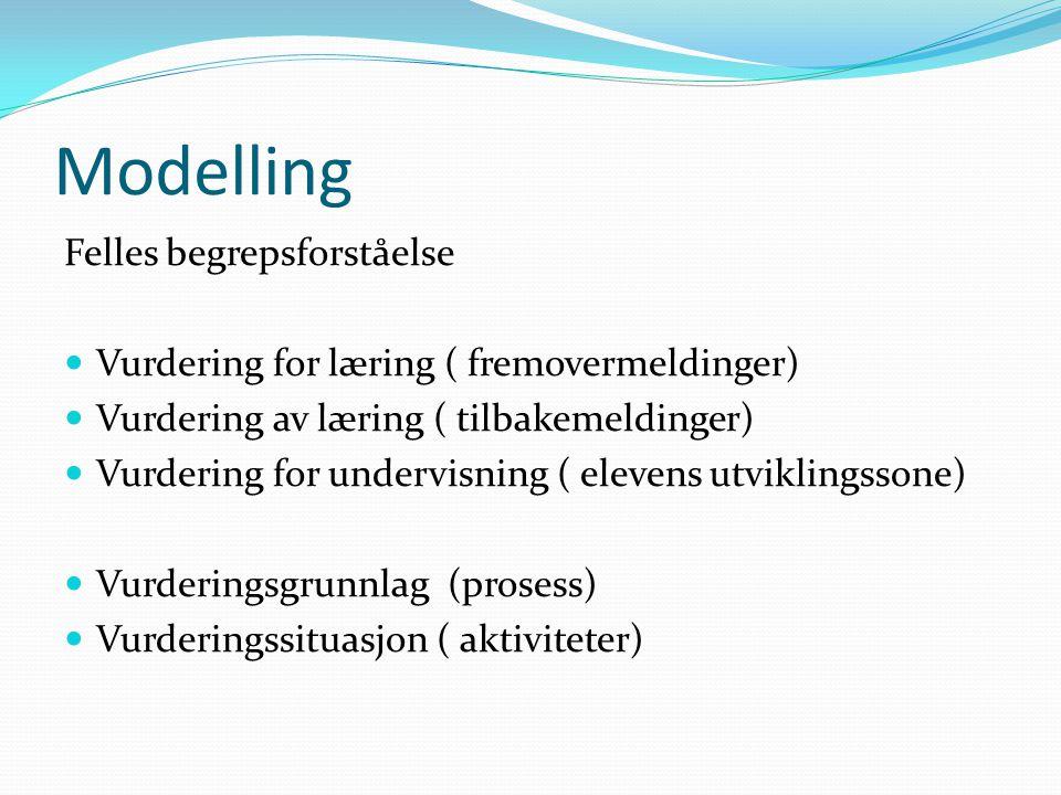 Modelling Felles begrepsforståelse Vurdering for læring ( fremovermeldinger) Vurdering av læring ( tilbakemeldinger) Vurdering for undervisning ( elevens utviklingssone) Vurderingsgrunnlag (prosess) Vurderingssituasjon ( aktiviteter)