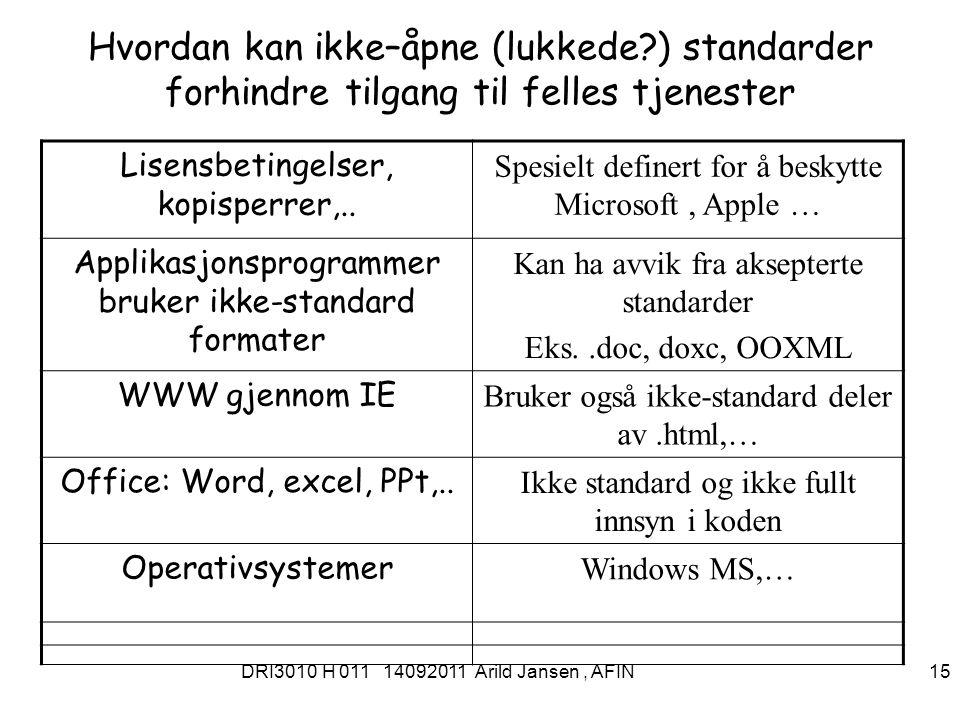 DRI3010 H 011 14092011 Arild Jansen, AFIN 15 Hvordan kan ikke–åpne (lukkede ) standarder forhindre tilgang til felles tjenester Lisensbetingelser, kopisperrer,..