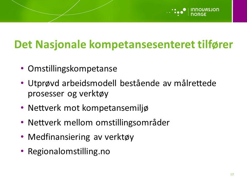 13 Det Nasjonale kompetansesenteret tilfører Omstillingskompetanse Utprøvd arbeidsmodell bestående av målrettede prosesser og verktøy Nettverk mot kompetansemiljø Nettverk mellom omstillingsområder Medfinansiering av verktøy Regionalomstilling.no