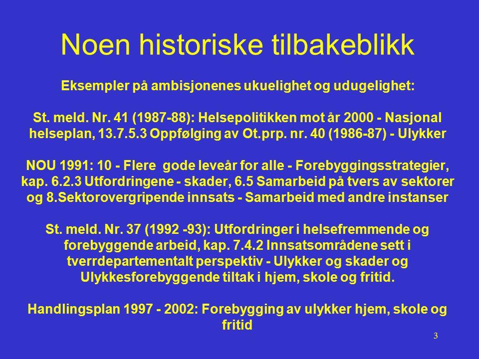 3 Noen historiske tilbakeblikk Eksempler på ambisjonenes ukuelighet og udugelighet: St. meld. Nr. 41 (1987-88): Helsepolitikken mot år 2000 - Nasjonal