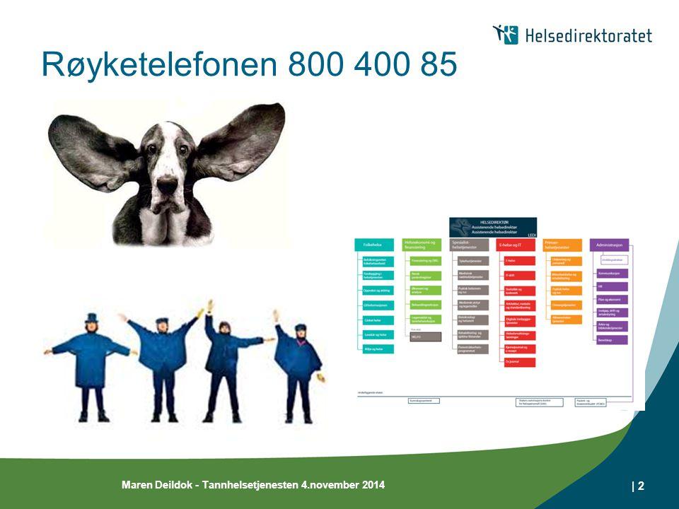 Røyketelefonen 800 400 85 Maren Deildok - Tannhelsetjenesten 4.november 2014 | 2