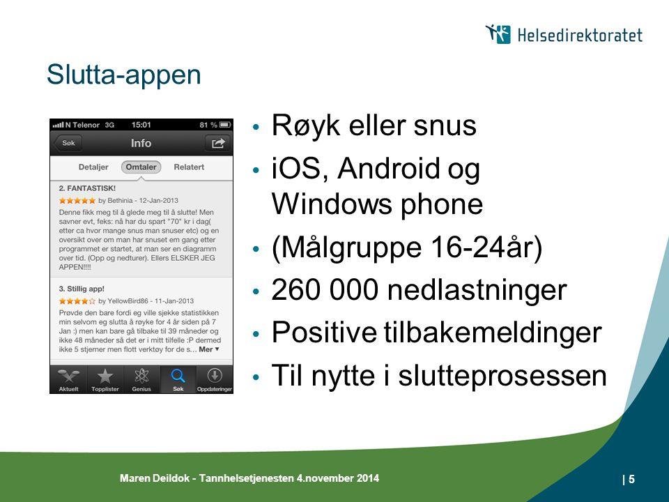 Slutta-appen Røyk eller snus iOS, Android og Windows phone (Målgruppe 16-24år) 260 000 nedlastninger Positive tilbakemeldinger Til nytte i slutteprosessen Maren Deildok - Tannhelsetjenesten 4.november 2014 | 5