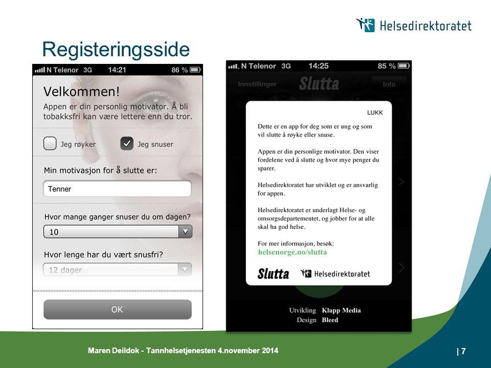 Registeringsside Maren Deildok - Tannhelsetjenesten 4.november 2014 | 7