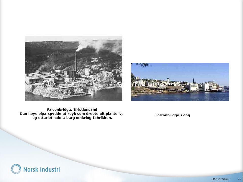 11 Falconbridge, Kristiansand Den høye pipa spydde ut røyk som drepte alt planteliv, og etterlot nakne berg omkring fabrikken.