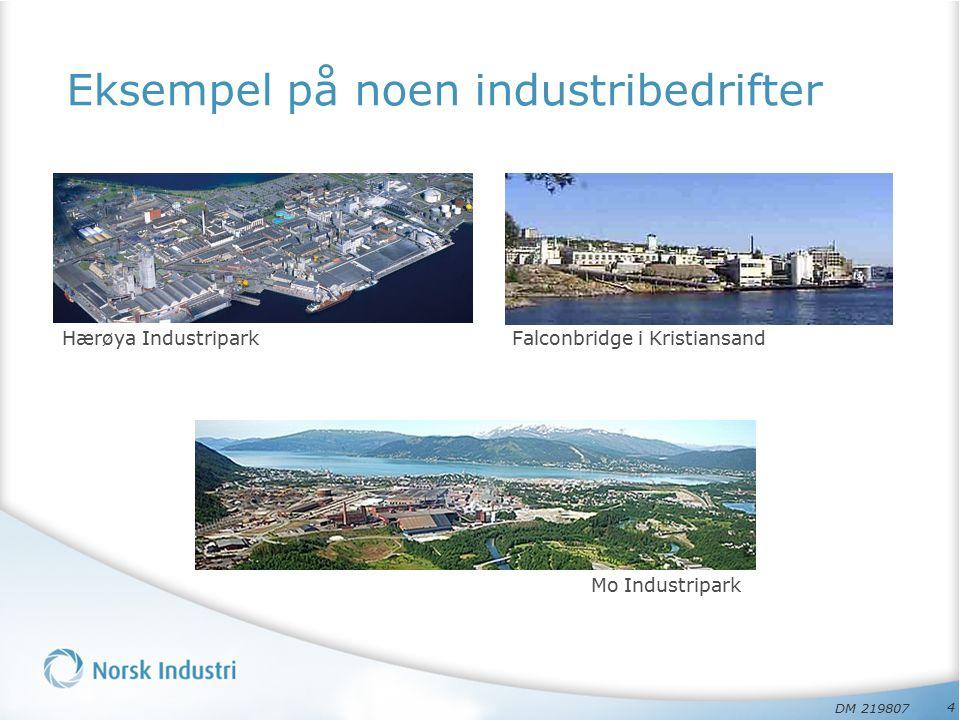 Eksempel på noen industribedrifter Hærøya Industripark 4 Mo Industripark Falconbridge i Kristiansand DM 219807
