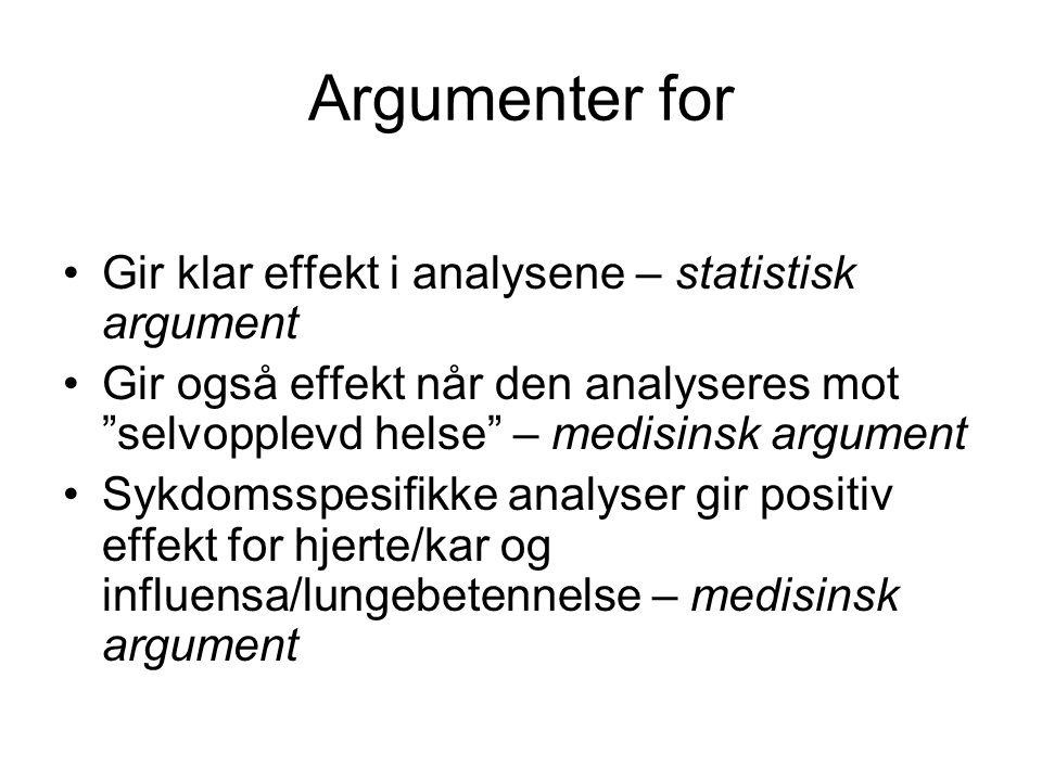 """Argumenter for Gir klar effekt i analysene – statistisk argument Gir også effekt når den analyseres mot """"selvopplevd helse"""" – medisinsk argument Sykdo"""