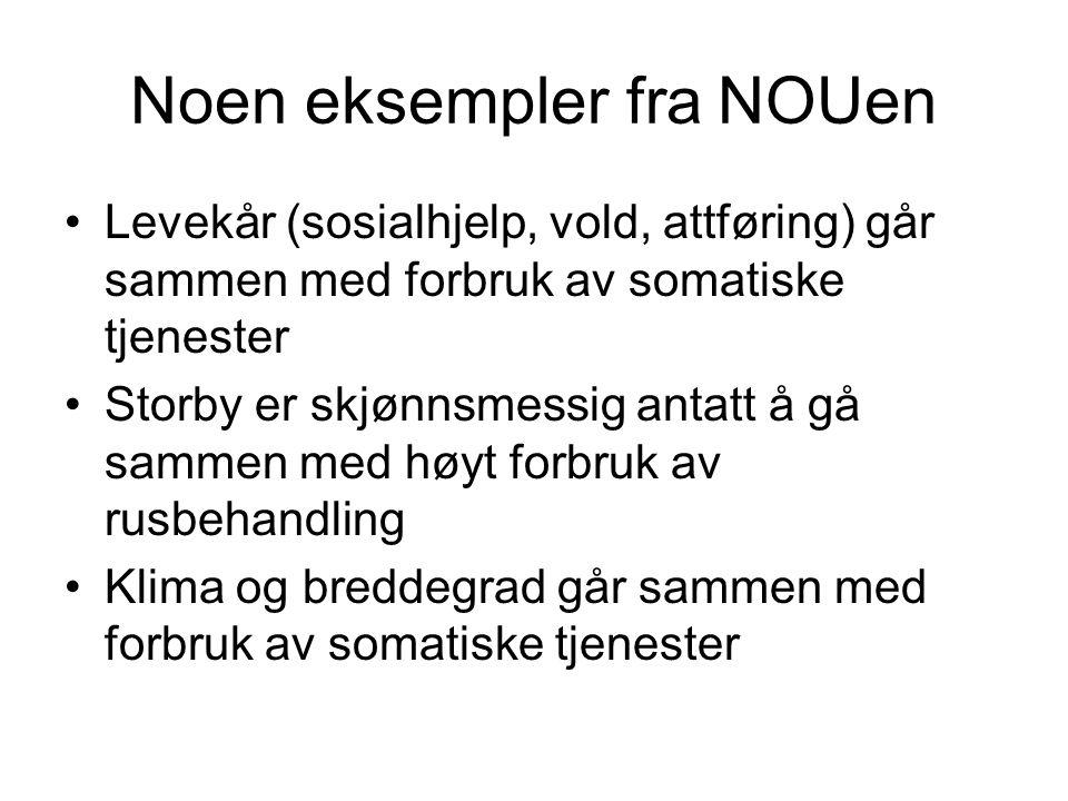Noen eksempler fra NOUen Levekår (sosialhjelp, vold, attføring) går sammen med forbruk av somatiske tjenester Storby er skjønnsmessig antatt å gå samm