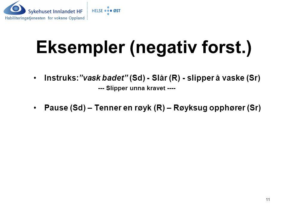 """Habiliteringstjenesten for voksne Oppland 11 Eksempler (negativ forst.) Instruks:""""vask badet"""" (Sd) - Slår (R) - slipper å vaske (Sr) --- Slipper unna"""