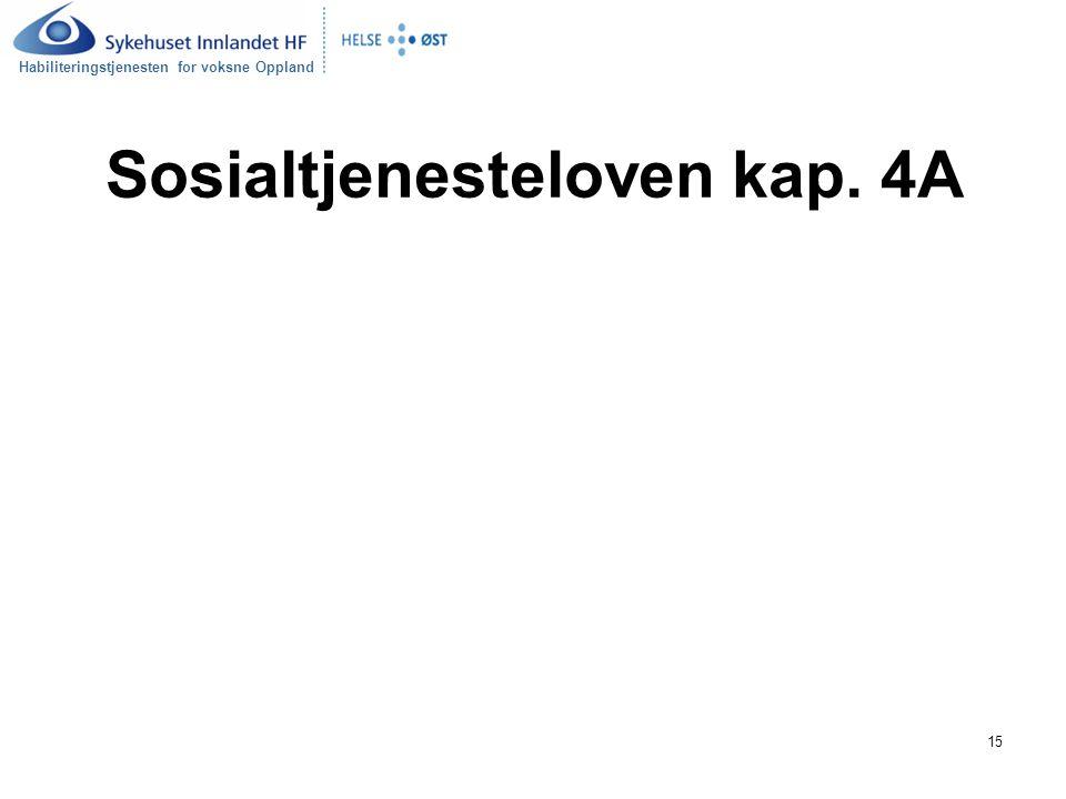 Habiliteringstjenesten for voksne Oppland 15 Sosialtjenesteloven kap. 4A
