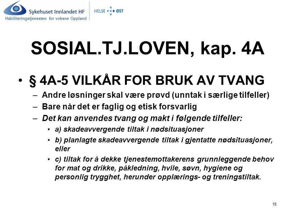 Habiliteringstjenesten for voksne Oppland 18 SOSIAL.TJ.LOVEN, kap.