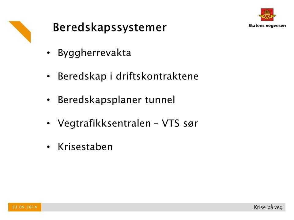 Krise på veg Byggherrevakta Beredskap i driftskontraktene Beredskapsplaner tunnel Vegtrafikksentralen – VTS sør Krisestaben Beredskapssystemer