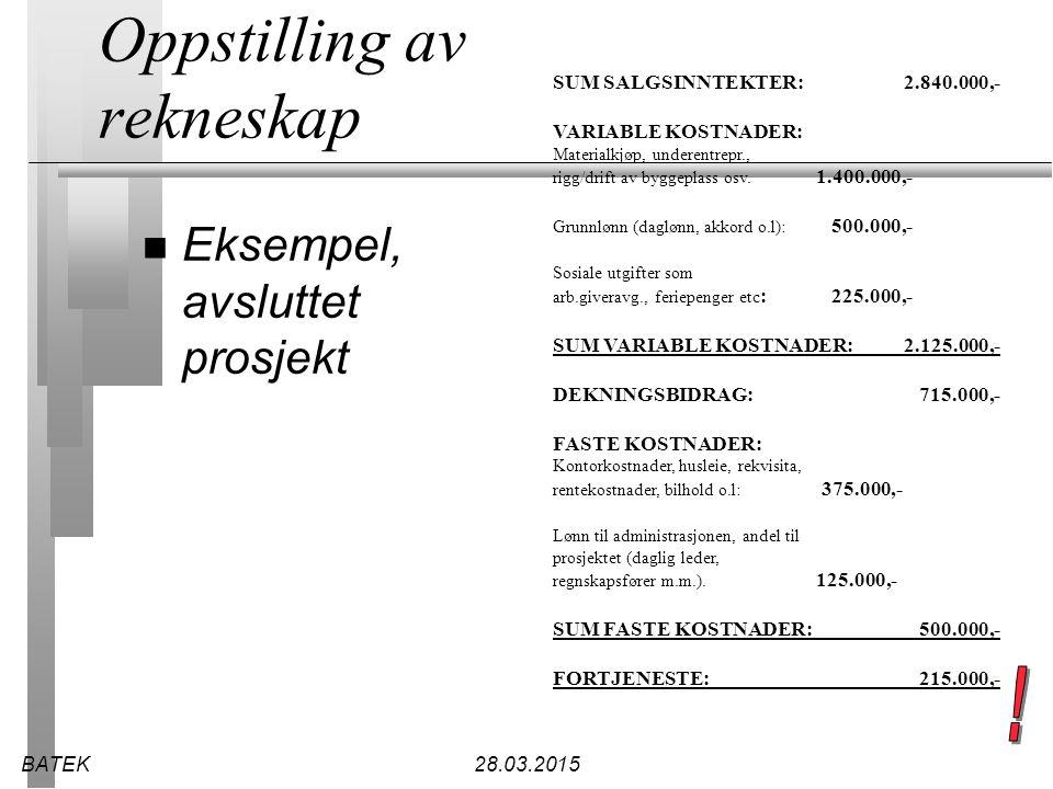 BATEK28.03.2015 Oppstilling av rekneskap n Eksempel, avsluttet prosjekt SUM SALGSINNTEKTER:2.840.000,- VARIABLE KOSTNADER: Materialkjøp, underentrepr.