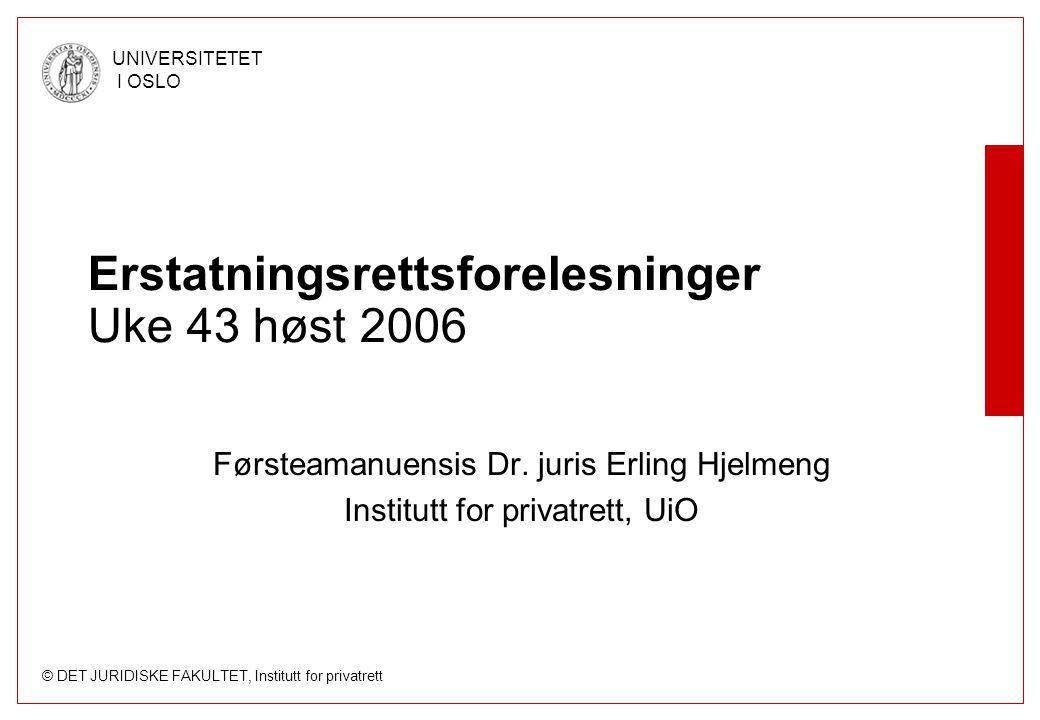 © DET JURIDISKE FAKULTET, Institutt for privatrett UNIVERSITETET I OSLO Erstatningsrettsforelesninger Uke 43 høst 2006 Førsteamanuensis Dr. juris Erli