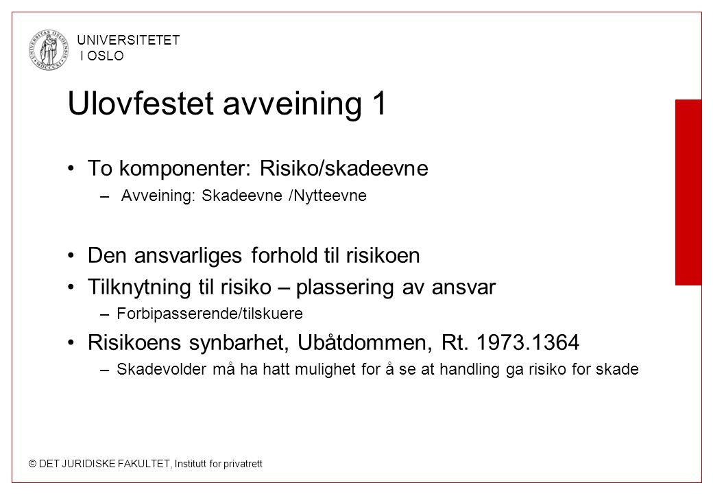 © DET JURIDISKE FAKULTET, Institutt for privatrett UNIVERSITETET I OSLO Ulovfestet avveining 1 To komponenter: Risiko/skadeevne – Avveining: Skadeevne