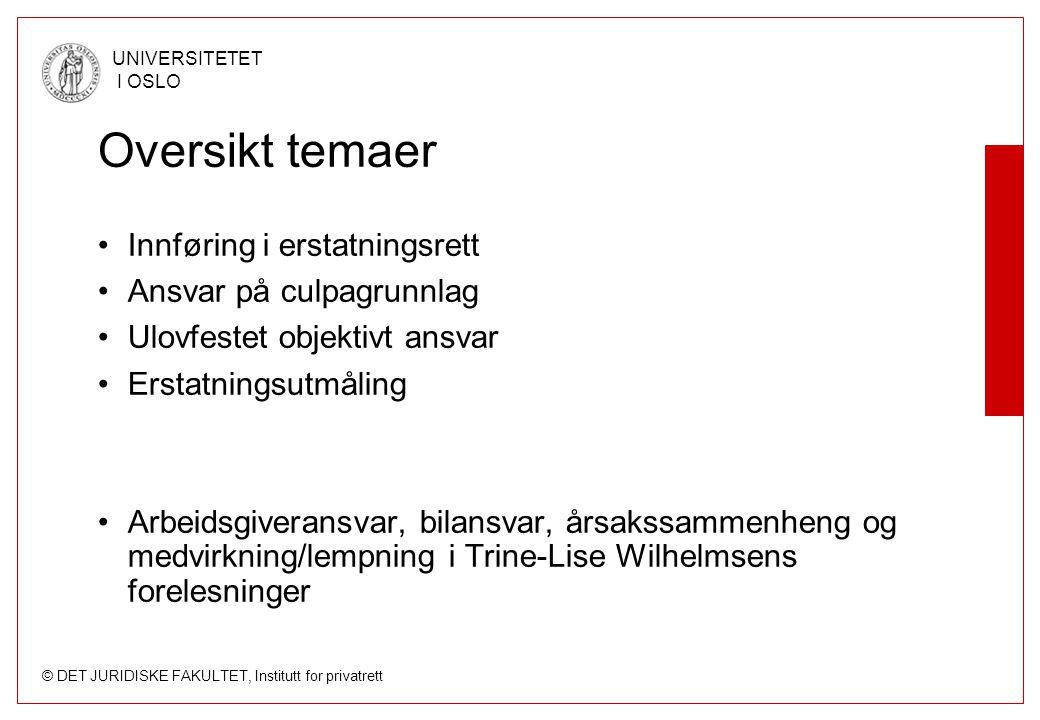 © DET JURIDISKE FAKULTET, Institutt for privatrett UNIVERSITETET I OSLO Oversikt temaer Innføring i erstatningsrett Ansvar på culpagrunnlag Ulovfestet