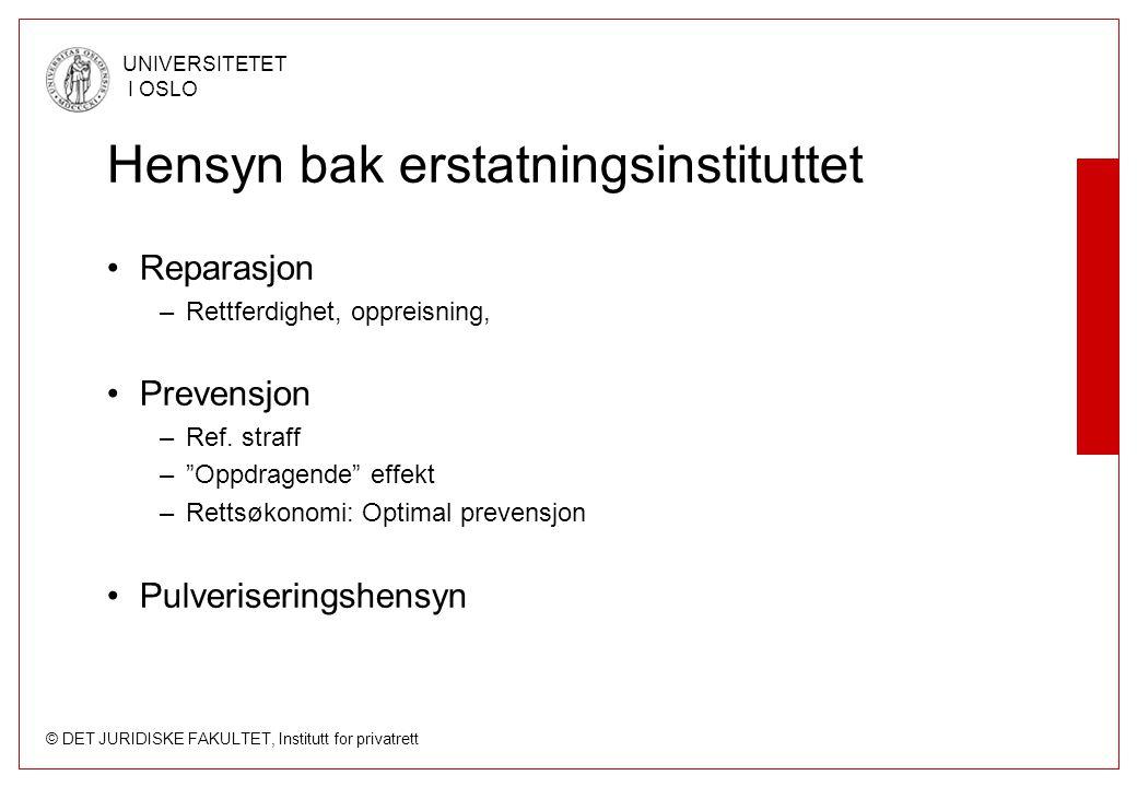 © DET JURIDISKE FAKULTET, Institutt for privatrett UNIVERSITETET I OSLO Forsørgertap Skl.