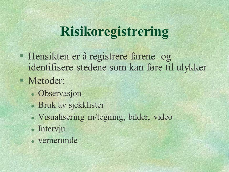 Risikoregistrering §Hensikten er å registrere farene og identifisere stedene som kan føre til ulykker §Metoder: l Observasjon l Bruk av sjekklister l