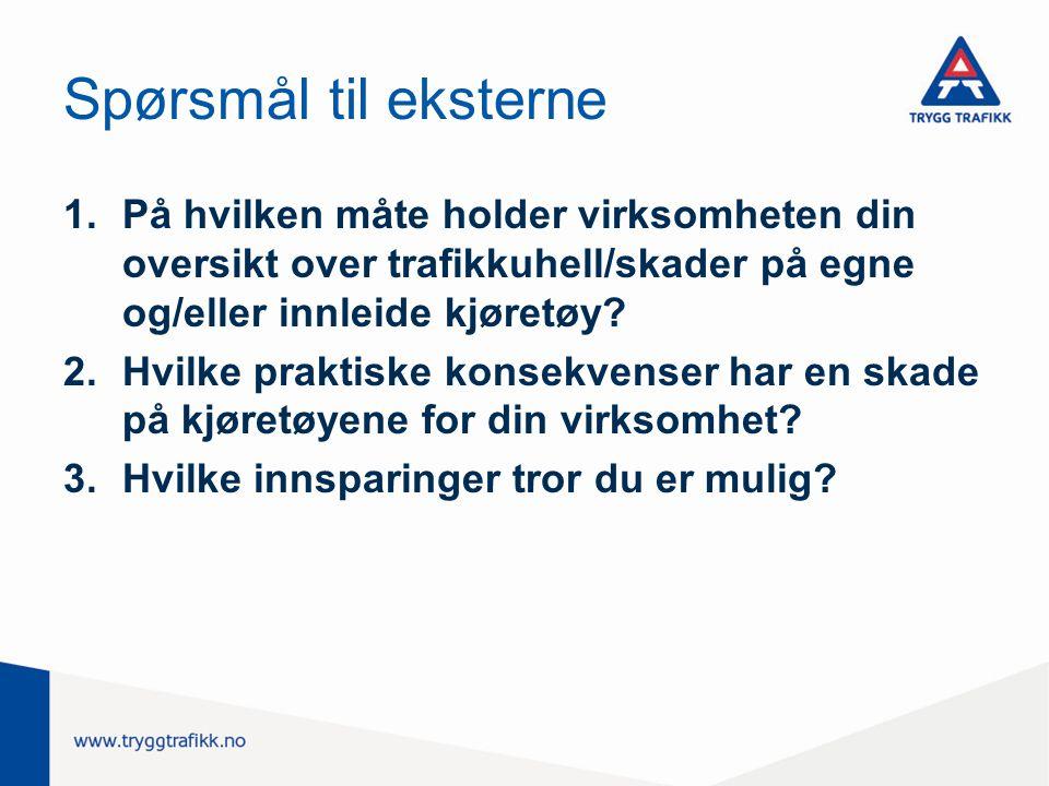 Spørsmål til eksterne 1.På hvilken måte holder virksomheten din oversikt over trafikkuhell/skader på egne og/eller innleide kjøretøy? 2.Hvilke praktis