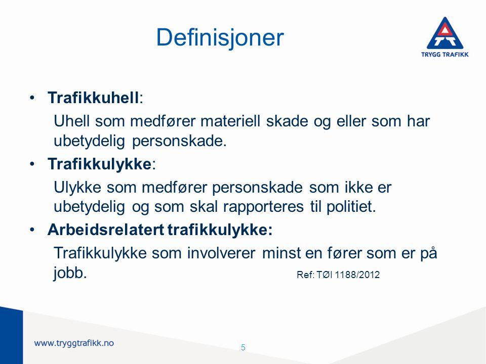 5 Definisjoner Trafikkuhell: Uhell som medfører materiell skade og eller som har ubetydelig personskade. Trafikkulykke: Ulykke som medfører personskad