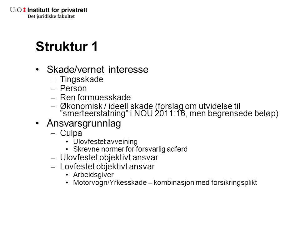 """Struktur 1 Skade/vernet interesse –Tingsskade –Person –Ren formuesskade –Økonomisk / ideell skade (forslag om utvidelse til """"smerteerstatning"""" i NOU 2"""
