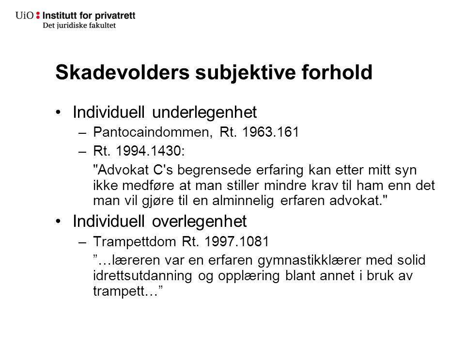 Skadevolders subjektive forhold Individuell underlegenhet –Pantocaindommen, Rt. 1963.161 –Rt. 1994.1430: