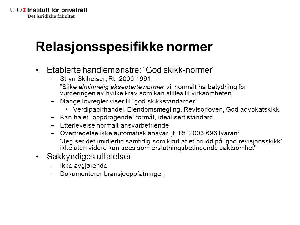 """Relasjonsspesifikke normer Etablerte handlemønstre: """"God skikk-normer"""" –Stryn Skiheiser, Rt. 2000.1991: """"Slike alminnelig aksepterte normer vil normal"""