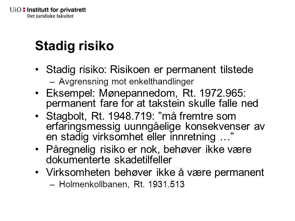 Stadig risiko Stadig risiko: Risikoen er permanent tilstede –Avgrensning mot enkelthandlinger Eksempel: Mønepannedom, Rt. 1972.965: permanent fare for