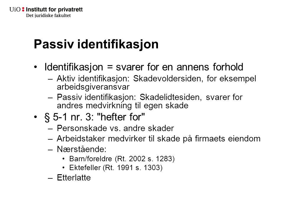 Passiv identifikasjon Identifikasjon = svarer for en annens forhold –Aktiv identifikasjon: Skadevoldersiden, for eksempel arbeidsgiveransvar –Passiv i