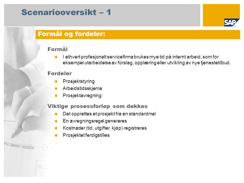 Scenariooversikt – 2 Obligatorisk SAP enhancement package 4 for SAP ERP 6.0 Brukerroller involvert i prosessforløp Prosjektleder (normal) Prosjektleder (super) Servicemedarbeider SAP-applikasjoner som kreves: