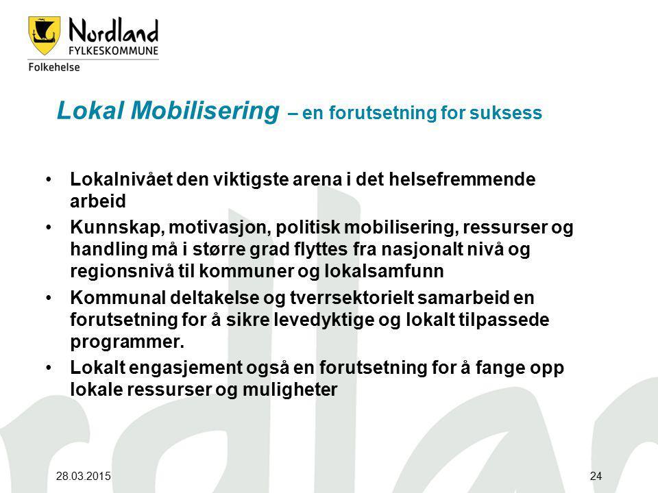 28.03.201524 Lokal Mobilisering – en forutsetning for suksess Lokalnivået den viktigste arena i det helsefremmende arbeid Kunnskap, motivasjon, politi
