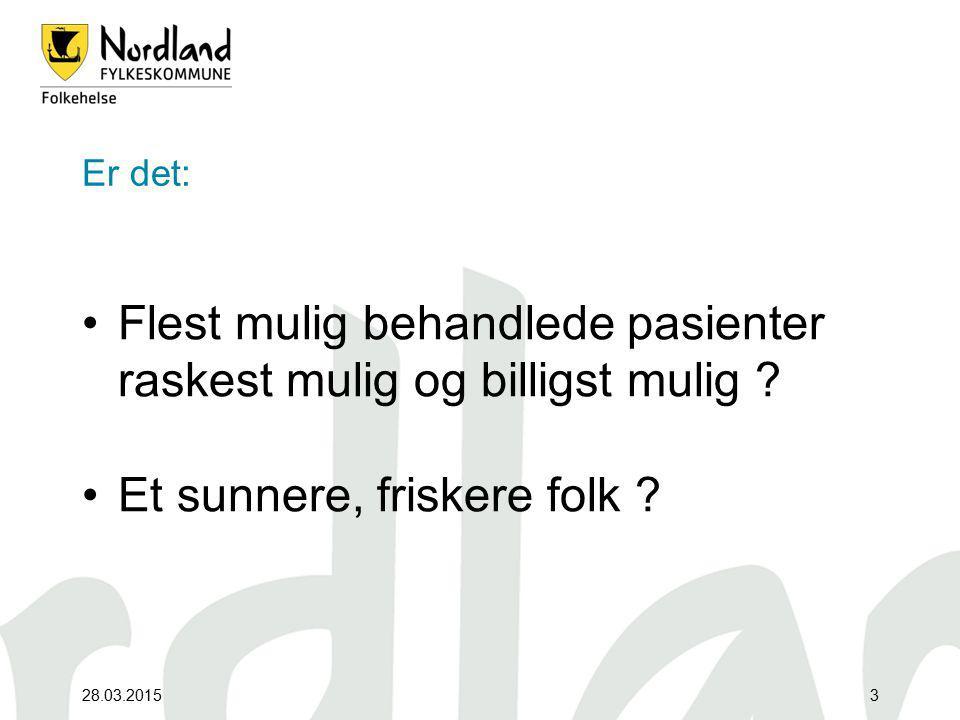 28.03.201514 Enorme økonomiske samfunnskostnader / inntjeningspotensialer KOSTNADER (for Nordlandssamfunnet): Fysisk inakt: 165 mill.