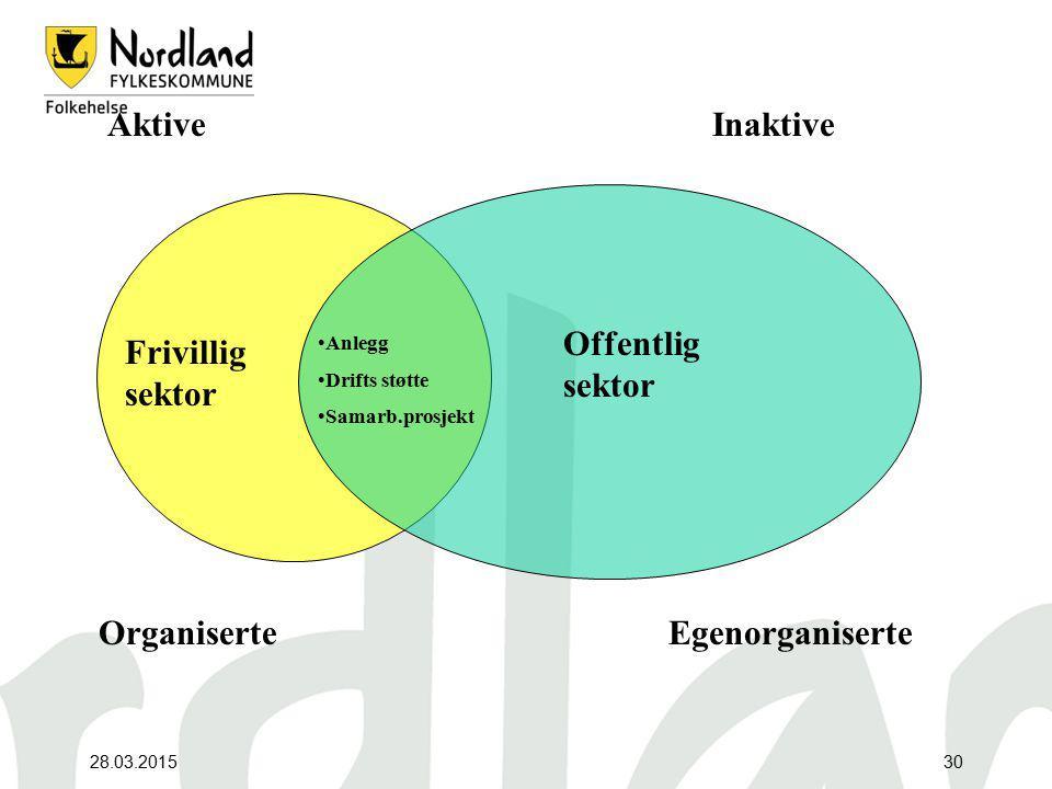 28.03.201530 Frivillig sektor Offentlig sektor Anlegg Drifts støtte Samarb.prosjekt Aktive Organiserte Inaktive Egenorganiserte