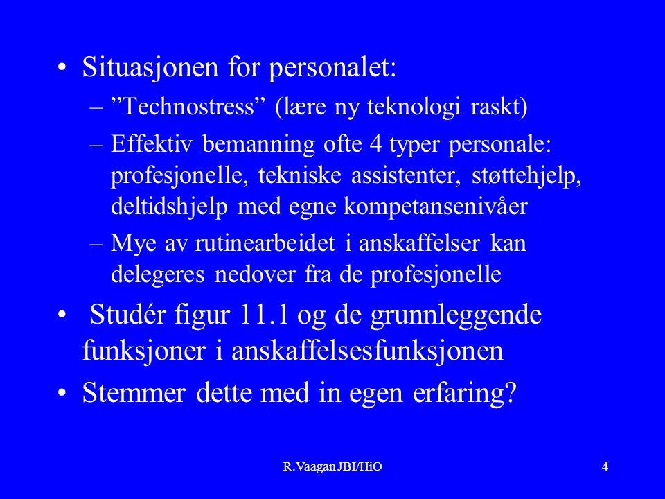 R.Vaagan JBI/HiO4 Situasjonen for personalet: – Technostress (lære ny teknologi raskt) –Effektiv bemanning ofte 4 typer personale: profesjonelle, tekniske assistenter, støttehjelp, deltidshjelp med egne kompetansenivåer –Mye av rutinearbeidet i anskaffelser kan delegeres nedover fra de profesjonelle Studér figur 11.1 og de grunnleggende funksjoner i anskaffelsesfunksjonen Stemmer dette med in egen erfaring