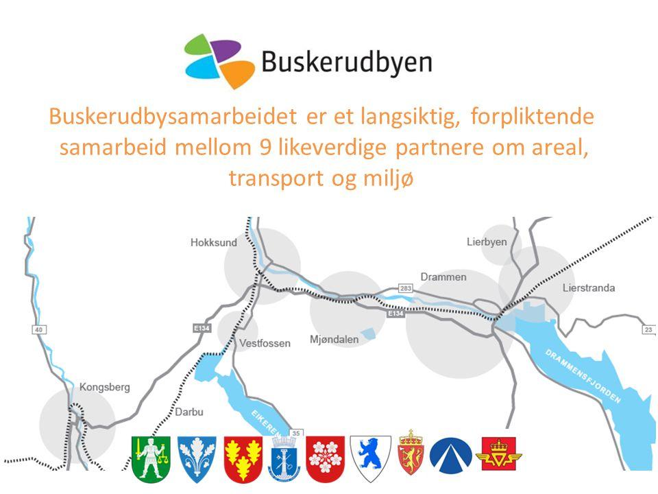 Buskerudbysamarbeidet er et langsiktig, forpliktende samarbeid mellom 9 likeverdige partnere om areal, transport og miljø