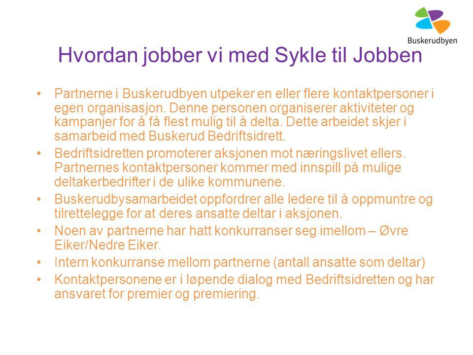 Hvordan jobber vi med Sykle til Jobben Partnerne i Buskerudbyen utpeker en eller flere kontaktpersoner i egen organisasjon.