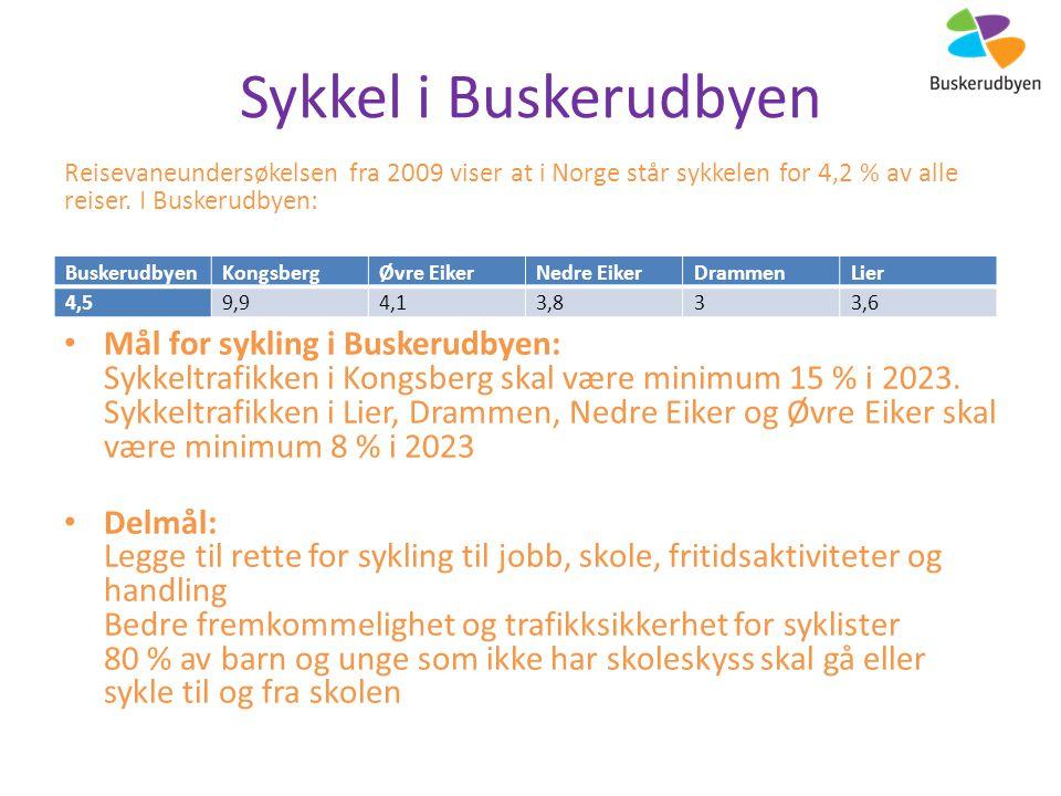 Sykkel i Buskerudbyen Reisevaneundersøkelsen fra 2009 viser at i Norge står sykkelen for 4,2 % av alle reiser.