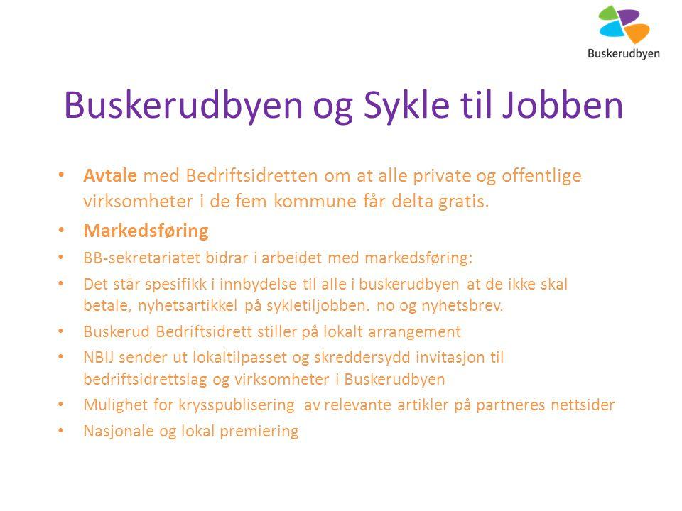 Buskerudbyen og Sykle til Jobben Avtale med Bedriftsidretten om at alle private og offentlige virksomheter i de fem kommune får delta gratis.
