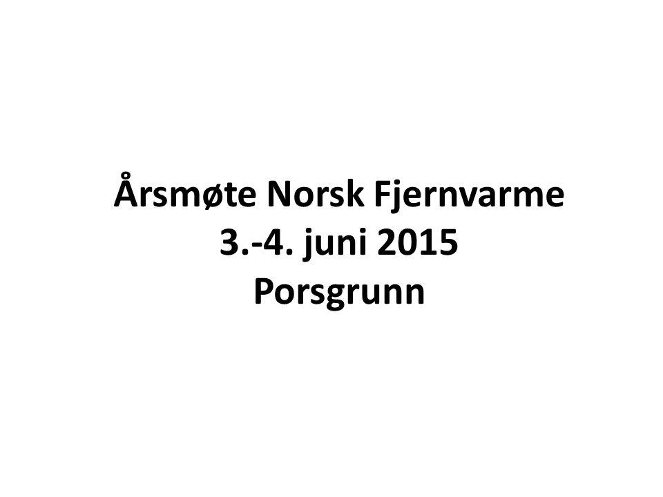 Årsmøte Norsk Fjernvarme 3.-4. juni 2015 Porsgrunn