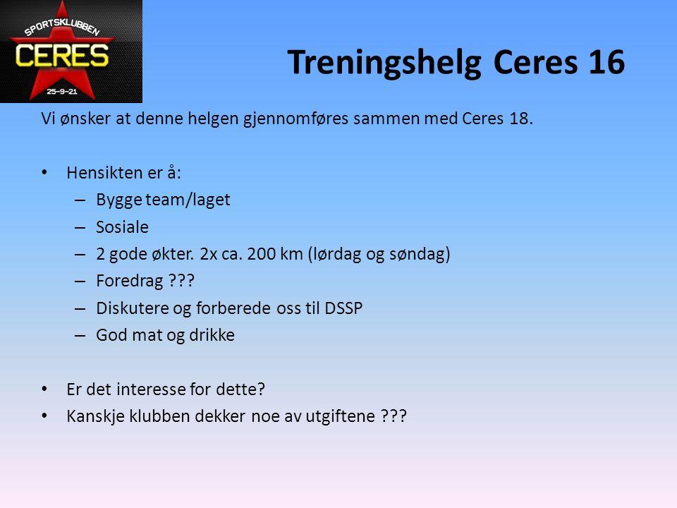 Treningshelg Ceres 16 Vi ønsker at denne helgen gjennomføres sammen med Ceres 18.