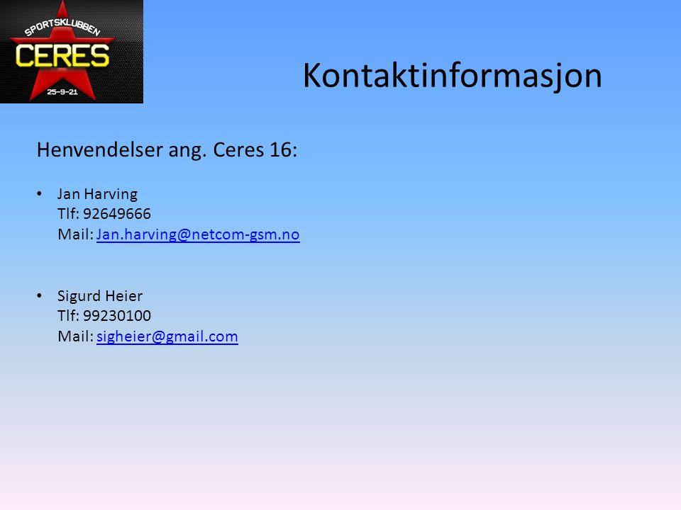 Kontaktinformasjon Henvendelser ang.