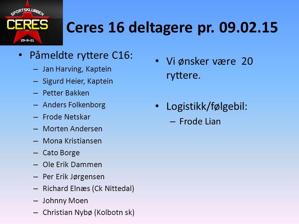 Ceres 16 deltagere pr. 09.02.15 Påmeldte ryttere C16: – Jan Harving, Kaptein – Sigurd Heier, Kaptein – Petter Bakken – Anders Folkenborg – Frode Netsk