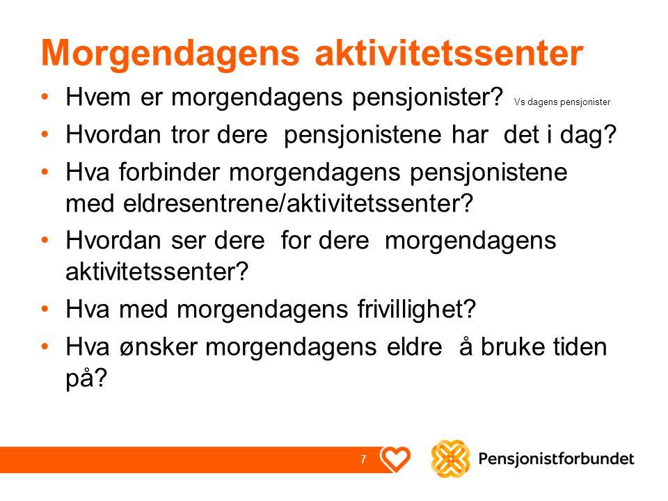 Morgendagens aktivitetssenter Hvem er morgendagens pensjonister? Vs dagens pensjonister Hvordan tror dere pensjonistene har det i dag? Hva forbinder m