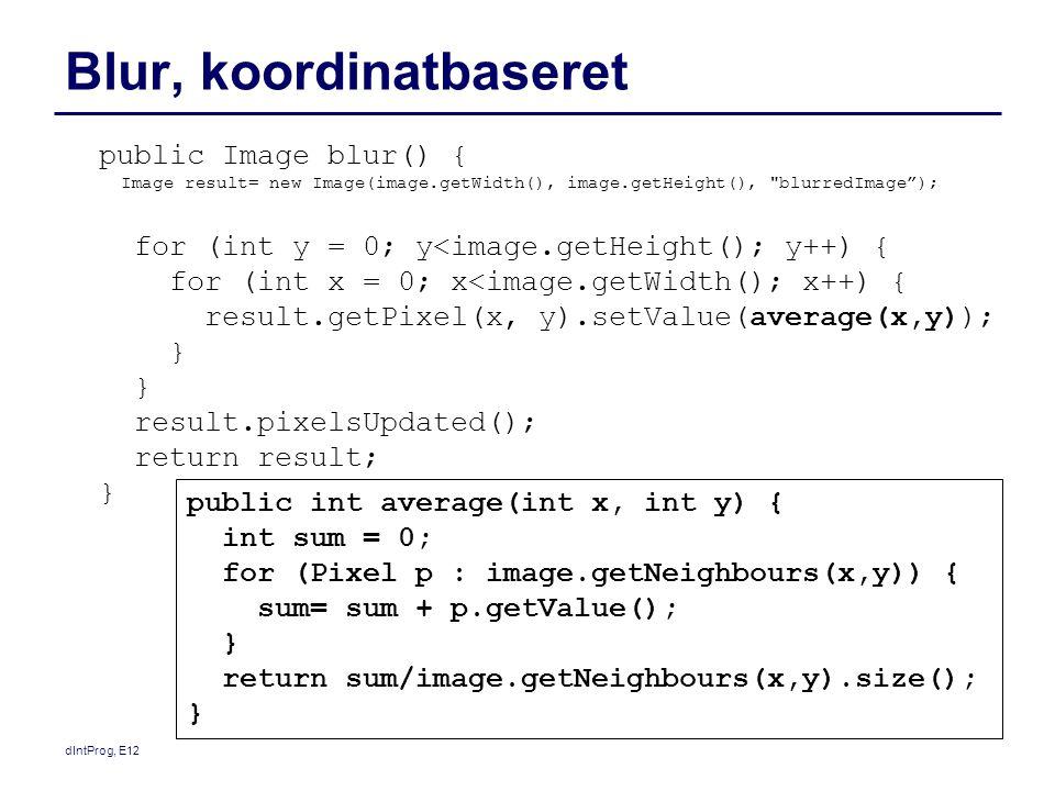 dIntProg, E12 Blur, koordinatbaseret public Image blur() { Image result= new Image(image.getWidth(), image.getHeight(),
