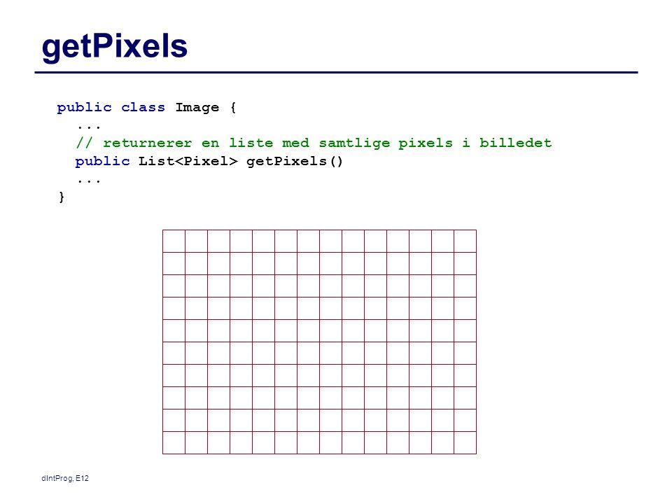 dIntProg, E12 getPixels public class Image {... // returnerer en liste med samtlige pixels i billedet public List getPixels()... }