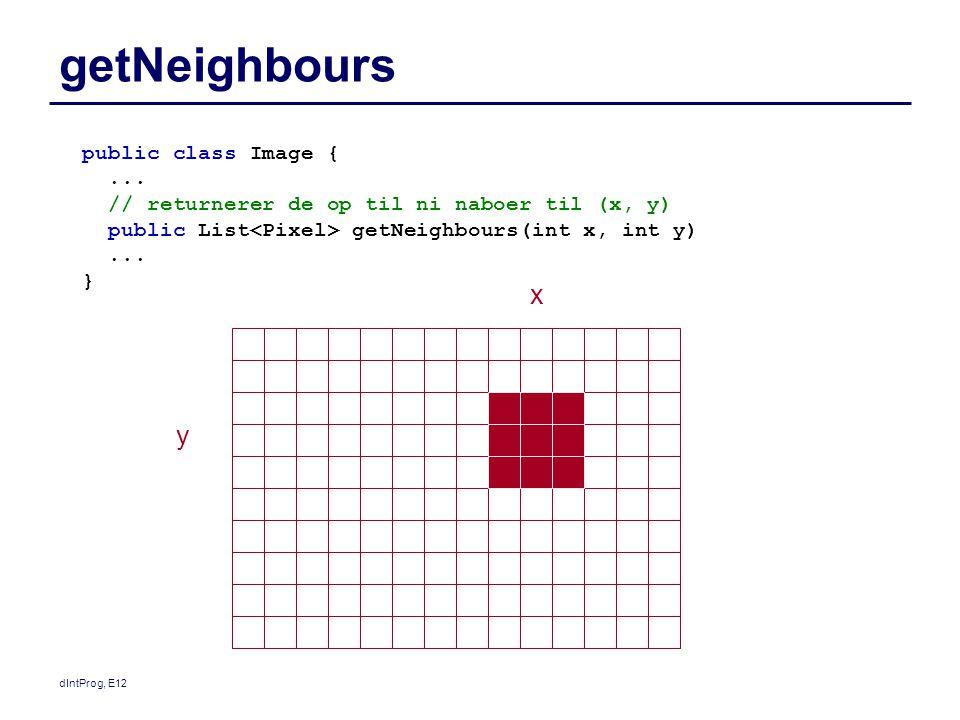 dIntProg, E12 Blur, koordinatbaseret public Image blur() { Image result= new Image(image.getWidth(), image.getHeight(), blurredImage ); for (int y = 0; y<image.getHeight(); y++) { for (int x = 0; x<image.getWidth(); x++) { result.getPixel(x, y).setValue(average(x,y)); } result.pixelsUpdated(); return result; } public int average(int x, int y) { int sum = 0; for (Pixel p : image.getNeighbours(x,y)) { sum= sum + p.getValue(); } return sum/image.getNeighbours(x,y).size(); }