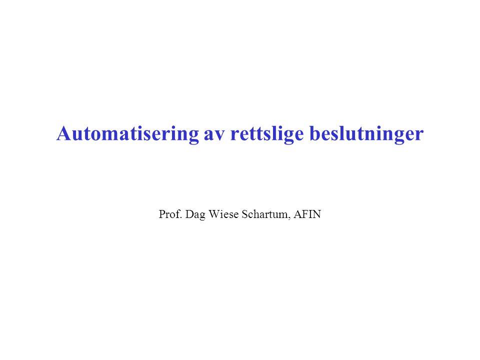 Automatisering av rettslige beslutninger Prof. Dag Wiese Schartum, AFIN