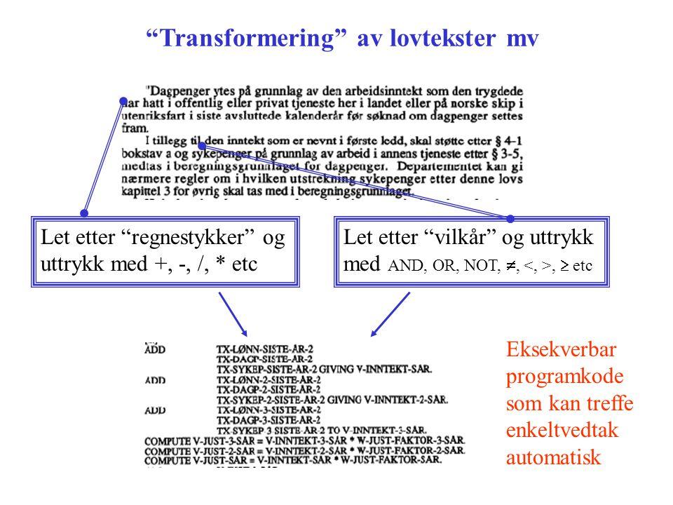 Transformering av lovtekster mv Let etter regnestykker og uttrykk med +, -, /, * etc Let etter vilkår og uttrykk med AND, OR, NOT, ,,  etc Eksekverbar programkode som kan treffe enkeltvedtak automatisk