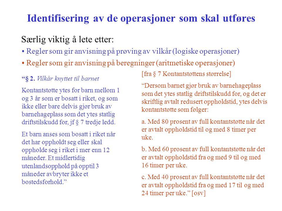 Identifisering av de operasjoner som skal utføres Særlig viktig å lete etter: Regler som gir anvisning på prøving av vilkår (logiske operasjoner) Regler som gir anvisning på beregninger (aritmetiske operasjoner) § 2.