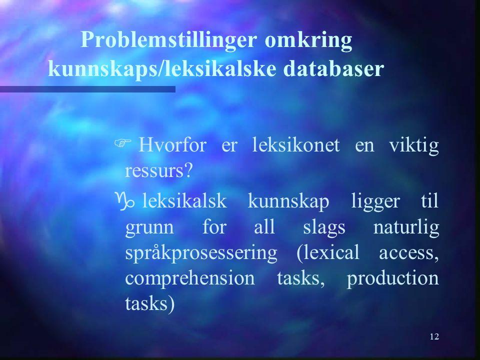 12 Problemstillinger omkring kunnskaps/leksikalske databaser F F Hvorfor er leksikonet en viktig ressurs? g g leksikalsk kunnskap ligger til grunn for